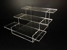 Premium 3 Step Clear Acrylic Display Steps Perspex Display Riser Lot of 2 units
