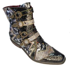 L'Artiste Rodeha Black Metallic Silver Leather Cowboy Bootie Boho Chic Shoe