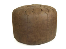 Fox Brown Distressed Faux Leather Moroccan Pouffe Bean Bag Footstool - Filled