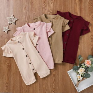 Newborn Baby Girls Summer Jumpsuit Clothes Button Romper Bodysuit Outfits Set