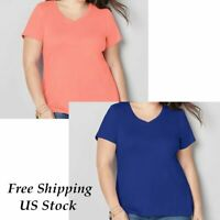 Plus Size Women Ladies Short Sleeve Loose Blouse T Shirt Comfy Baggy Top Tee
