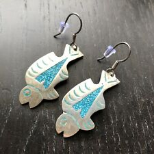 VTG Modernist SIGNED Taxco Mexico Sterling Silver Inlaid Fish Pescado Earrings