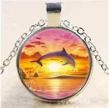 Sunset Dolphin Jump Cabochon Glass Tibet Silver Chain Pendant Necklace