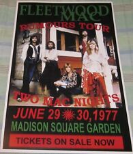 FLEETWOOD MAC RUMOURS TOUR MSG 1977 REPLICA CONCERT POSTER W/PROTECTIVE SLEEVE