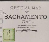 "1900 Vintage SACRAMENTO CALIFORNIA Map 14""x11"" ~ Old Antique Original OAK PARK"