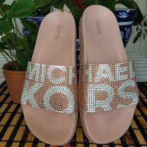 MICHAEL KORS GILMORE ICONIC MK LOGO PINK WHITE CRYSTAL SLIDES SIZE 9 NEW