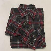 NOS Vintage 60s Prest-Rite Men's Flannel Button Up Long Sleeve Plaid Shirt Large