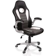 Racing Chefsessel Grau Bürostuhl Drehstuhl Bürosessel Gaming Schreibtischstuhl