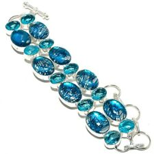 "Silver Jewelry Bracelet 7-8"" Smq-33 Blue Rutilated Quartz, Blue Topaz"