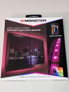 Monster Multi Color Changing USB LED Light Strip 6.5ft Multicolor Tech Gift