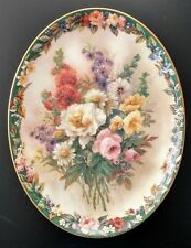 Lena Liu Floral Cameos Remembrance oval Plate #1 Bradford Exchange Flowers noCoa