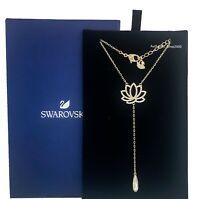 New Authentic SWAROVSKI Gold Sparkle Crystal Lotus Y Pendant Necklace 5521468