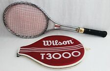Vintage 1970's Wilson T3000 Steel Tennis Racquet with Cover, Grip 4 5/8 Free Sh