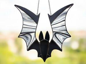 Halloween satined glass bat suncatcher, Black bat window hangings, Bat decor
