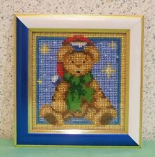 Christmas Bear - finished embroidery picture with beads