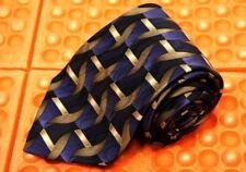 "VIA EUROPA 100% Silk Hand Sewn Mens Tie Art Decco Weave  Blue Black Gold  56"""