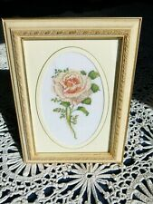 "Vtg Cross Stitch Yellow Rose 12"" Completed Needlepoint Retro Flower Framed"