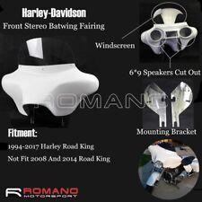 Detachable Front Bat Wing Fairing 6x9 Speaker White For Harley Road King 1994 Up
