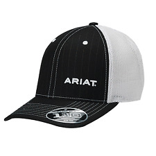 Ariat Black White Flexfit Mesh Snap Back Hat Ball Cap.   NWT! 1596301