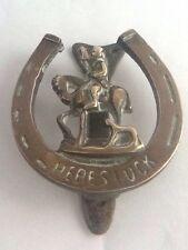 Vintage Brass Lucky Horseshoe Fox Hunting Door Knocker