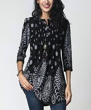 Reborn Collection Black & Gray Vine Dot Notch Neck Pin Tuck Tunic (Uk 16:Us 12)