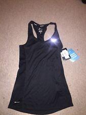Womens Nike Dri-Fit Running Vest XS Black Fitness Gym Sports Reflective
