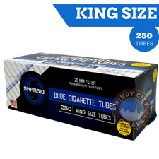 Shargio Blue King Size Cigarette Tubes (250 per box)+FREE cig Case