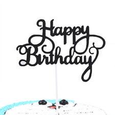 10 piezas de papel Brillo Feliz Cumpleaños Cake Topper Magdalena postre suministros de Decoración