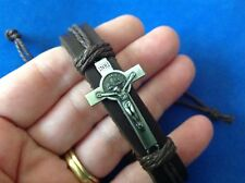 Rare Leather ST BENEDICT CROSS CRUCIFIX Bracelet Protection Brown Antique Silver