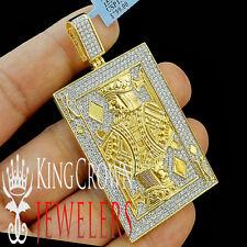 10K Yellow Gold Sterling Silver Simu Diamond Pendant Royal King Poker Pave Charm