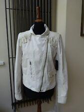 polo ralph lauren White Fringe Women Jacket Cotton Leather New Size L