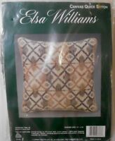 "ELSA WILLIAMS Canvas Quick Stitch Pillow Kit  ""TIPPERARY TRELLIS""  tweed yarn"