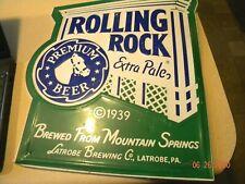 Rolling Rock Beer Advertising Metal Sign~1989 Latrobe Brewing Co Pa