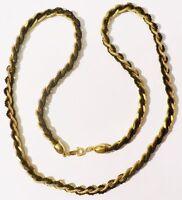 collier bijou vintage signé TRIFARI maille gourmette perle noir couleur or *3573