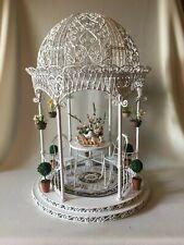 """Vintage Dollhouse Miniature """"White Metal Wire Wicker"""" Gazebo plus Extras"""