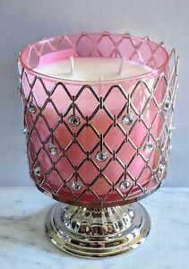 Bath & Body Works Sparkle Silver diamond pedestal 3 Wick Candle Holder - NEW!