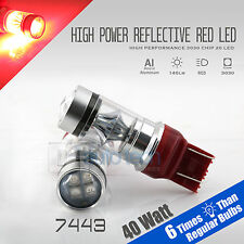 2X 7443/7440 40W Red Projector High Power Chip LED Brake Tail Stop Lights Bulbs