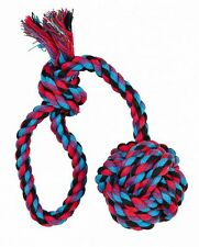 Denta Fun Playing Rope Dog Toy Throwing Rope with Hand Loop & Ball 30cm
