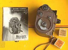 Rare Revere Double 8mm Movie Camera w Portrait Lens & Filter w Manual & Warranty