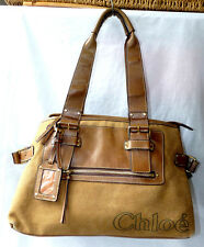 CHLOE Handbag Shoulder Bag Brown Canvas & Leather