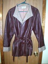 Vintage Northside Womens M L Burgundy Leather Coat w Tan Trim & Belt Tie