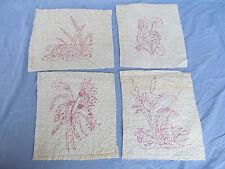 Antique Redwork Victorian era 4 Hand-stitched Embroidered Quilt Blocks Very Old