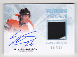 11-12 SP Authentic Erik Gustafsson /100 Auto Patch Rookie LIMITED Flyers 2011