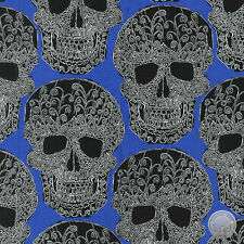 Michael Miller Art Skulls Filigree Blue Damask Cotton Fabric by the Yard