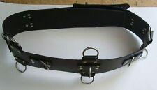 BDSM Taillengurt 10,0 cm extra mit 5 D-Ringen + 6 O-Ringen + Klemmschutz Leder