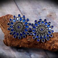 Bollywood Oxidized Silver Plated Stone Big Stud Earrings Jewelry for women #BBHR