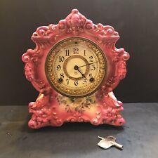 ANTIQUE ANSONIA Pink PORCELAIN MANTLE CLOCK Title CASE