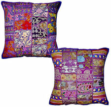 2pc set Purple Vintage Bohemian Indian throw Pillow Floor Cushions Sofa Pillows