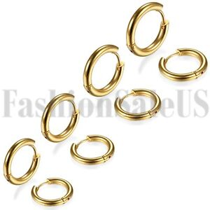 18-24mm Men Women Unisex Stainless Steel Charm Hoop Huggie Earrings Studs 2PCS