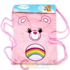Care Bears Cheer Bear Pink Plush Draw String Backpack Sling Shoulder Bag